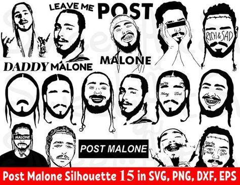 Post Malone 15 Svg Bundle Leave Me Malone Svg Post Malone Poster Malone Cricut Malone Png Post Post Malone Malone Silhouette