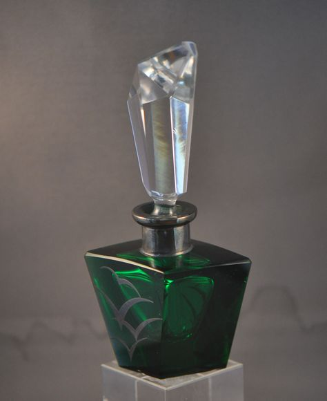Emerald green with seagulls perfume bottle with crystal