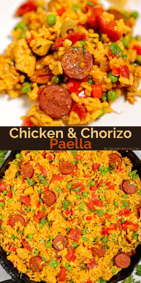 This chicken and chorizo paella is made in a cast iron skillet to get that delicious crispy rice on the bottom. Filled with vegetables and aromatics, this one skillet paella is perfect for feeding the family. #paella #skilletpaella #castironpaella #chickenpaella #chorizopaella #chicken #chorizo