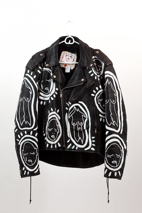 Patrick Church - Hand Painted Jacket Vintage leather jacket Hand painted by Patrick Church All Over You motif Oversized fit Size Medium Diy Leather Jacket, Painted Leather Jacket, Vintage Leather Jacket, Church Outfit For Teens, Church Outfits, Diy Vetement, Bleaching Clothes, Painted Clothes, Painted Shoes