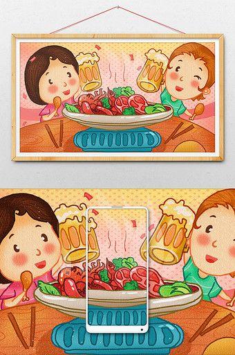 Warm Cute Cartoon Food Girlfriends Friends Eating Hot Pot