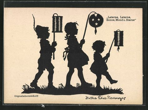 old postcard: Künstler-AK sign.Hertha Peters-Neumeyer: Kinder mit Laternen, Scherenschnitt