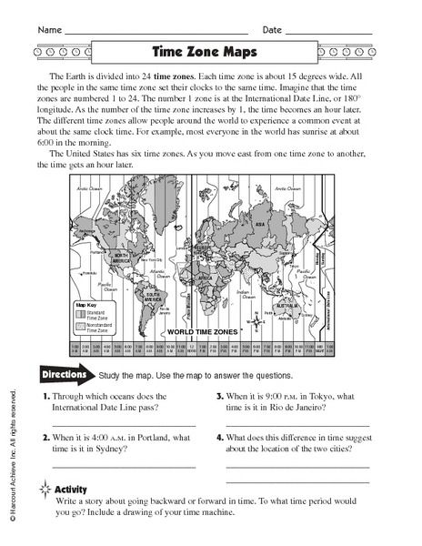 Time Zones Activity Worksheets With Images Time Zone Map