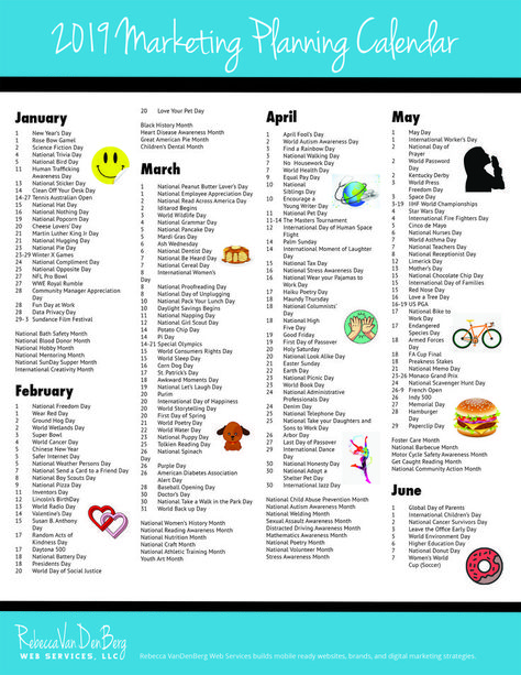 2019 Marketing Planning Calendar - VanDenBerg Web + Creative