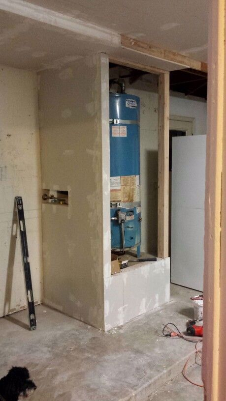 03 04 2016 Enclosed Water Heater In 2020 Water Heater Closet Water Heater Laundry Room Diy