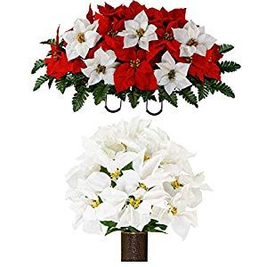 Sympathy Silks Artificial Cemetery Flowers Realistic Outdoor Grave Decorations Non Bleed Colors And Easy Fit Red Poinsettia White Lily Bouquet Silk F Cemetery Flowers Memorial Flowers White Lily Bouquet