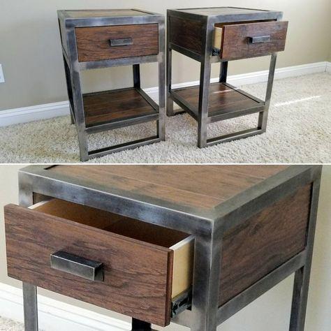Industrial Reclaimed Wood Nightstand, Wood Metal Bedroom Furniture