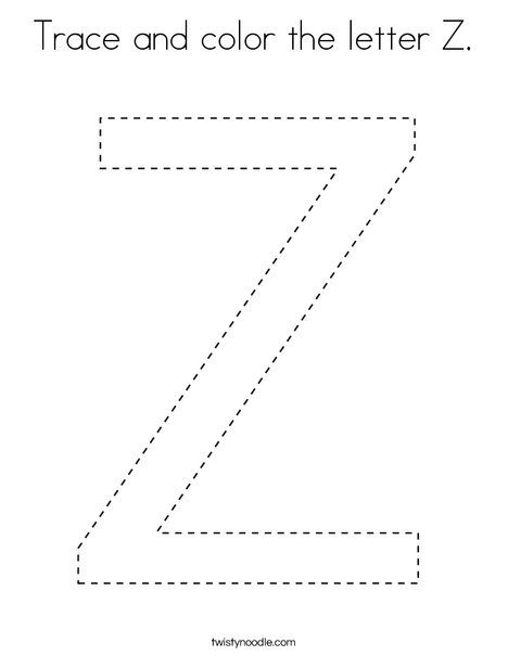 Trace And Color The Letter Z Coloring Page Twisty Noodle Letter Z Lettering Coloring Pages