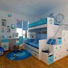 Uberlegen Kids Room In Blue. Kinderzimmer GestaltenKinderzimmer JungeFunktional Etagenbetten ...