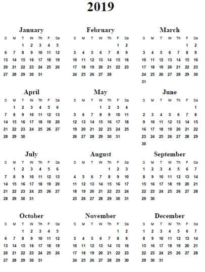 2019 Calendar Word Monthly Calendar Templates Printable Calendar