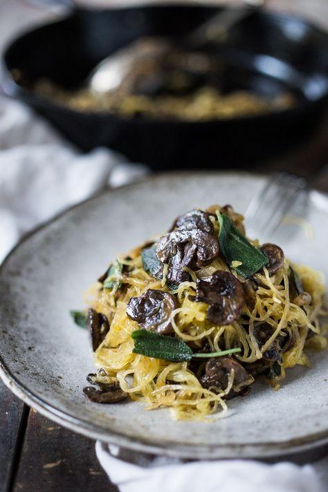40 Vegan Dinner Recipes!| Spaghetti Squash with Mushrooms, Garlic and Sage. | www.feastingathome.com