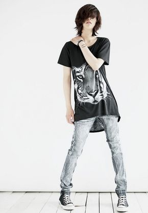 ulzzang fashion and also tigers and skinny jeans, androgynous, tomboy fashion