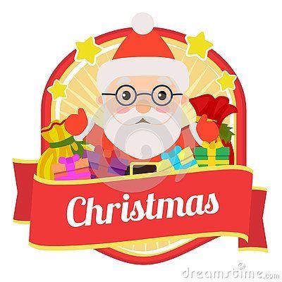 Cute Christmas Badge With Santa And Gift Sacks Christmas Illustration Gift Sack Christmas