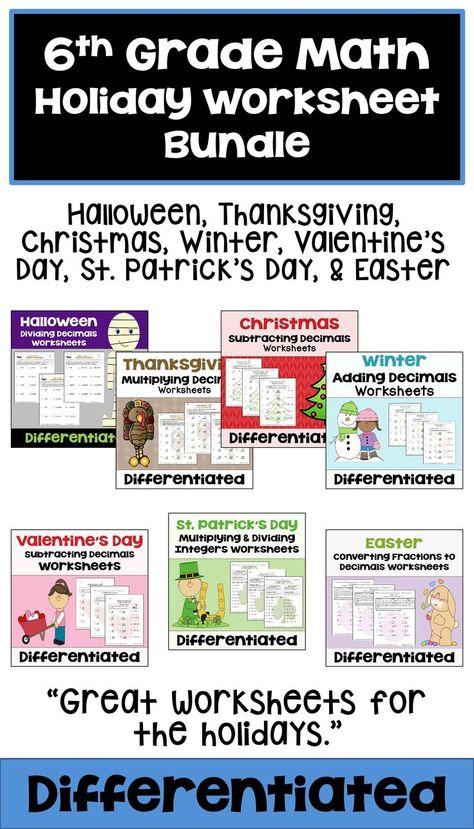 6th Grade Math Holiday Worksheet Bundle St Patricks Day Math
