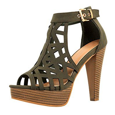 184ed169415 Guilty Shoes Womens Cutout Gladiator Ankle Strap Platform Fashion ...