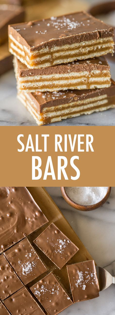 These Salt River Bars are sweet salty chewy creamy crunchy chocolatey PERFECTION! Everyone who tries them LOVES them! Diy Dessert, Smores Dessert, Dessert Bars, Candy Recipes, Sweet Recipes, Cookie Recipes, Bar Recipes, Recipies, Fun Baking Recipes