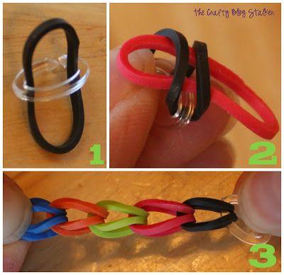 Small Rubber Band Bracelets: Rainbow loom style DIY tutorial, stretch bracelets for kid craft