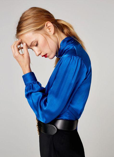 Camisa seda azul - Ver todo - Última semana - Uterqüe España