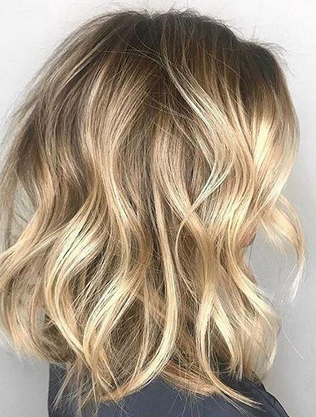 Tousled Blonde Mane Interest Wavy Bob Hairstyles Wavy