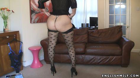 Big ass English milf Daniella in sexy spot pattern stockings and heels.