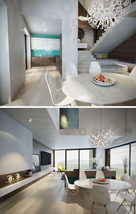 offener wohnbereich mit küche und essbereich. alles in grau und, Hause deko