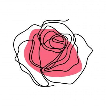 Continuous Line Drawing Of Rose Flower Vector Flower Clipart Plant White Png And Vector With Transparent Background For Free Download Continuous Line Drawing Line Drawing Line Art Drawings