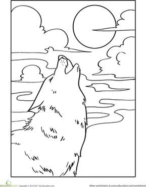 Howling Wolf Worksheet Education Com Moon Coloring Pages Wolf Colors Coloring Pages