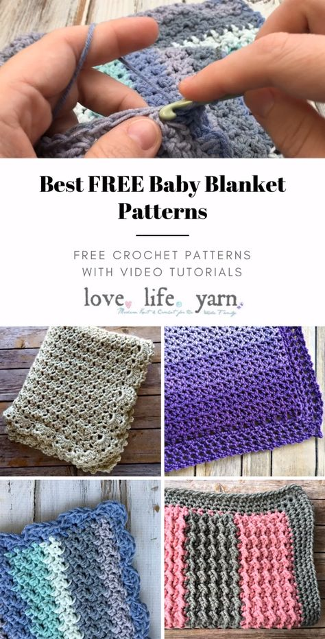 Check out these amazing FREE crochet baby blanket patterns - all with complete video tutorials.  These blankets make wonderful gifts, are all easy to crochet, and have close up video tutorials to walk you through every step.