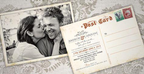 andrew caroline antique postcard wedding invitations 709x365