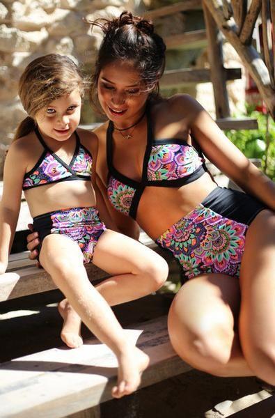 SHOOYING Girls Bikini Swimsuits Mommy and Me Matching Ruffle Off Shoulder Swimwear