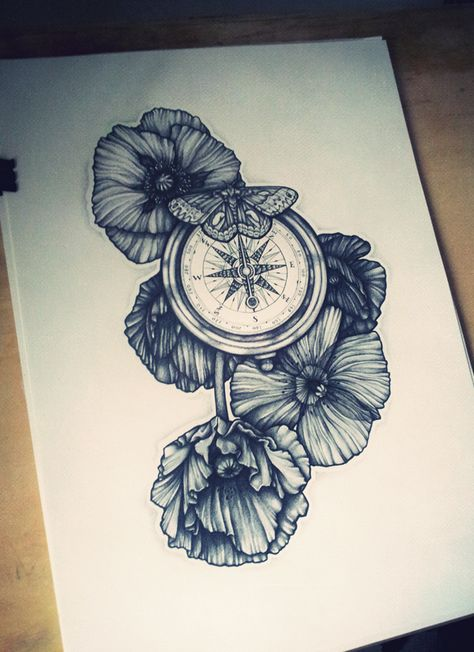 Wow, that's beautiful. Might have to steal This.. Make it into a wizard of oz tattoo. Replace the compass with the mechanical heart, color the poppies red.. Oh Jesus that'd be a great piece