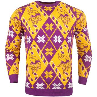 online retailer 9b1df dfd8b Men's Minnesota Vikings Yellow Candy Cane Repeat Sweater ...