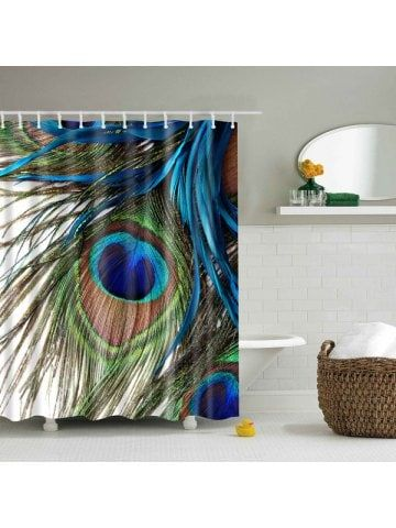 Waterproof Peacock Feather Printing Shower Curtain Blue Shower