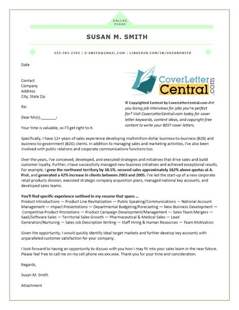 KeywordRich Sales Cover Letter Example  Cover Letter Tips