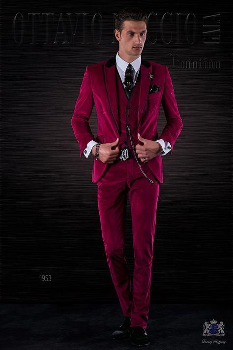 Italienisch Herren Anzug fuchsie aus Samt Ottavio Nuccio
