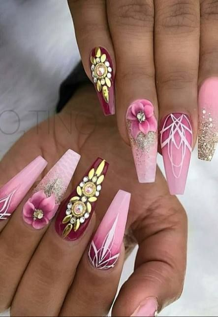 63 ideas nails coffin acrylic pink bling