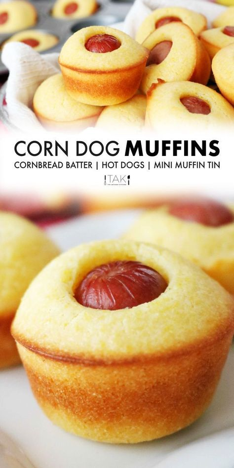 Easy Meals For Kids, Quick Easy Meals, Quick And Easy Recipes, Dog Muffin Recipe, Muffin Tin Recipes, Corndog Recipe, Corn Dog Muffins, Good Food, Yummy Food