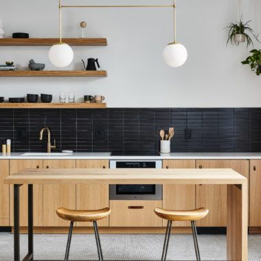 Modern Scandinavian Kitchen With Black And White Matte Tile Floating Wood Shelves Scandinavian Kitchen New Kitchen Cabinets Kitchen Cabinets Black And White