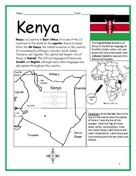 Kenya Printable Handout With Map And Flag Kenya Kenya Africa Map