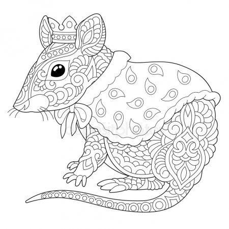 Zentangle Mysh Krysa Okraski Stranicy Licenzionnye Stokovye Vektory Coloring Pages Coloring Pictures Rats