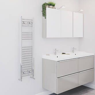 Blyss Cag01ga926 Flat Ladder Towel Radiator 1100 X 300mm Chrome Towel Warmer Towel Radiator Traditional Bathroom
