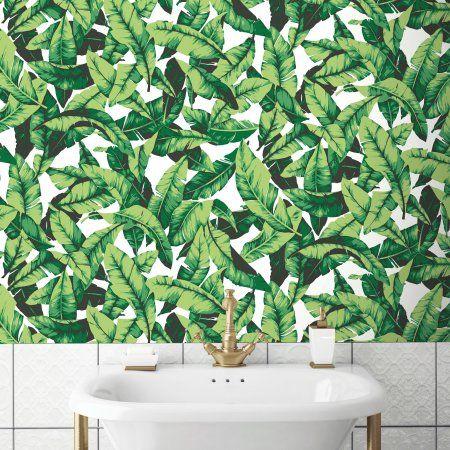 Roommates Palm Leaf Peel Stick Wallpaper Walmart Com Peel And Stick Wallpaper Palm Leaf Wallpaper Peelable Wallpaper