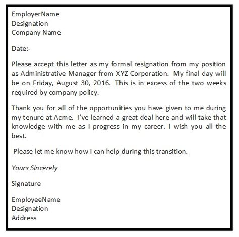 Resignation Letter Format with reason describing the reason of - resignation letter format