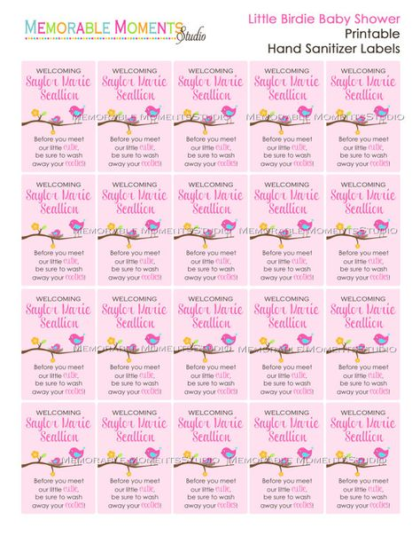 Printable Little Birdie Mini Hand Sanitizer Labels For Baby Shower