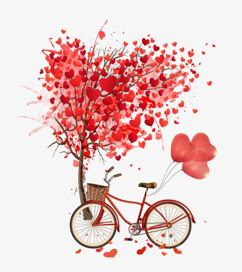 Heart-shaped,Vector Heart,Trees,bicycle,red,heart-shaped vector,balloons vector,Heart-shaped clipart,balloons clipart,Vector clipart