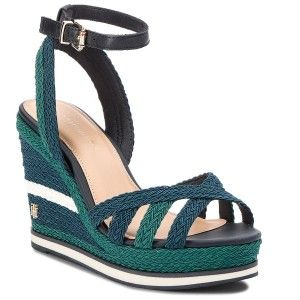 Sandaly Tommy Hilfiger Wedge Sandal Sporty Outsole Fw0fw02251 Midnight 403