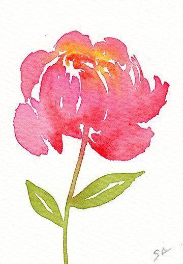 Aceo Original Aquarell Pfingstrose Miniaturkunst Blumenmalerei