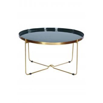 Table Basse En Metal Dore Plateau Bleu Canard Blandine Table Basse Table Basse Laquee Table Basse Design