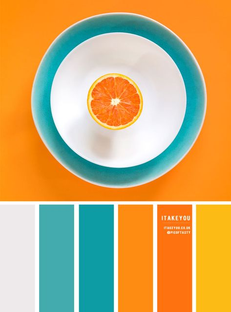 Color Inspiration : Orange + Teal and Yellow It's time to think bright! The bright orange contrasts with teal and the subtle yellow to just the right amount. Orange Palette, Orange Color Schemes, Orange Color Palettes, Color Schemes Colour Palettes, Teal Colors, Teal Yellow, Summer Color Palettes, Decorating Color Schemes, Paint Color Combinations
