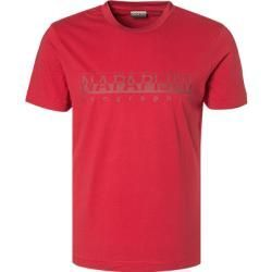 Mens. Napapijri Red T-Shirt with Old Effect Graphic Printing